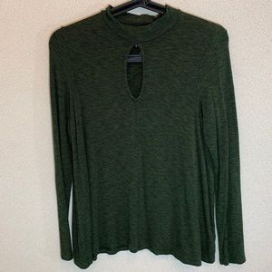 AMERICAN EAGLE Long Sleeve Green Soft & Sexy Top